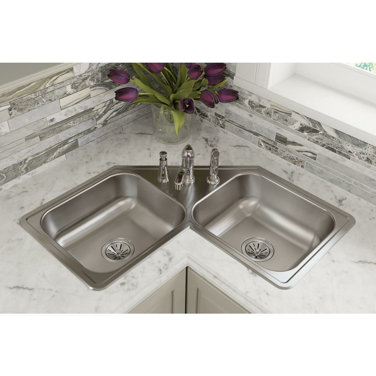 Elkay Dayton 32 L X 32 W Double Basin Drop In Kitchen Sink Reviews Wayfair