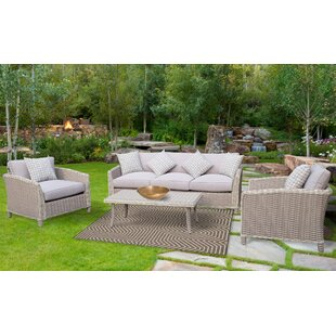 Spafford 4 Piece Rattan Sofa Seating Group with Cushions