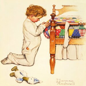 'A Christmas Prayer' by Norman Rockwell Painting Print on Wrapped Canvas