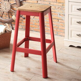 Smitherman Industrial Metal Frame and Wooden Bar Stool by Gracie Oaks