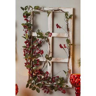 Wooden Window Frame Berry Wall Décor