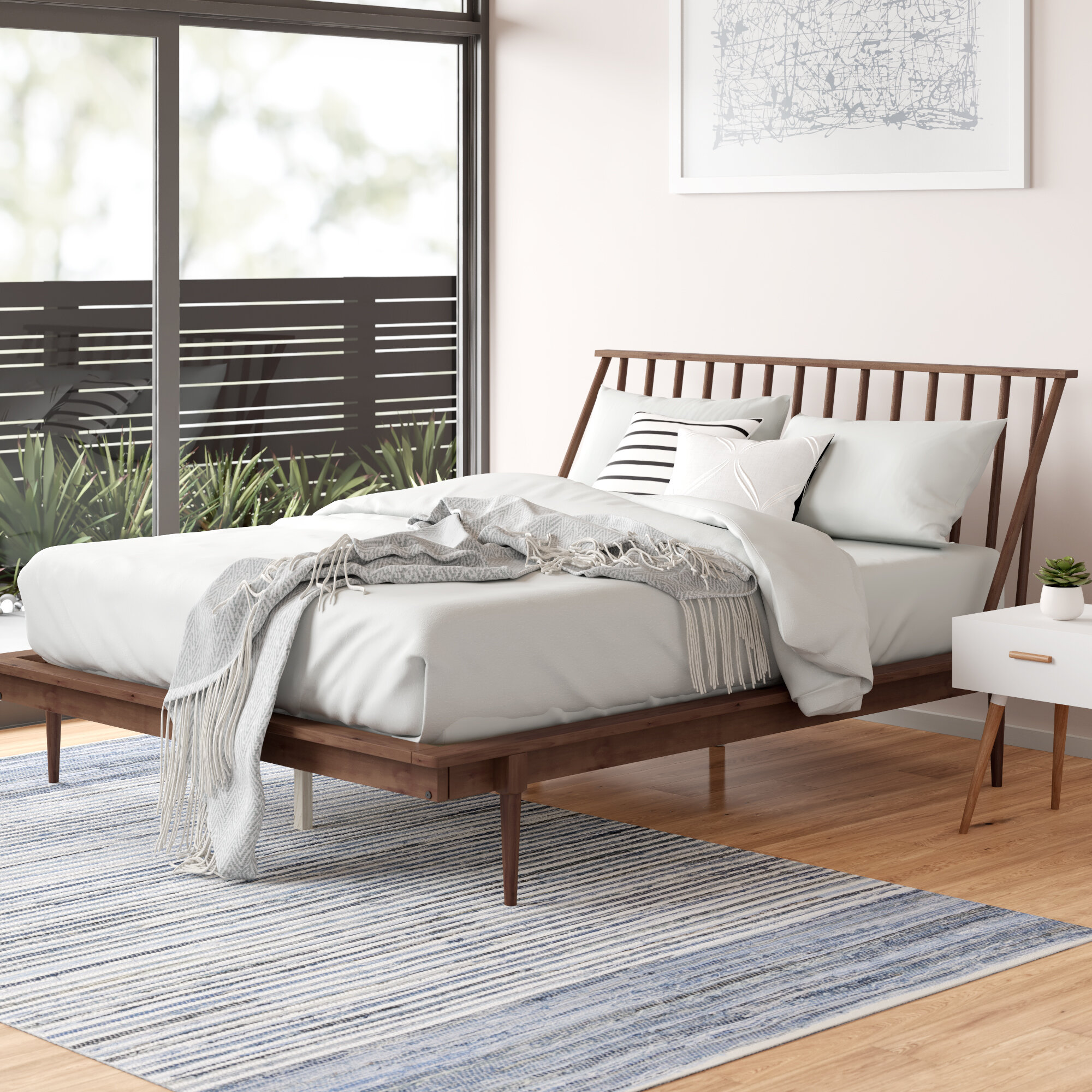 Allmodern Dorinda Solid Wood Low Profile Standard Bed Reviews Wayfair