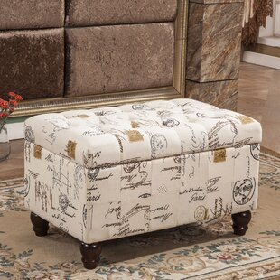 French Writing Postmark Print Tufted Wood Storage Bench by Bellasario Collection Sale