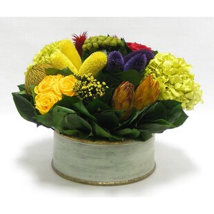 Mixed Floral Centerpiece in Wooden Short Round Container