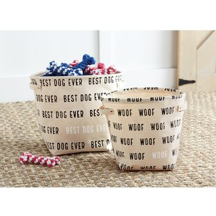 Great Price Canvas Dog Toy 2 Piece Bin Set By Mud Pie™