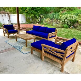 Kinde 6 Piece Teak Sunbrella Sofa Set with Cushions