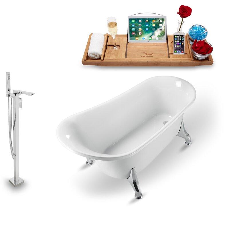 Streamlinebath 60 X 28 Clawfoot Soaking Bathtub With Tray Wayfair