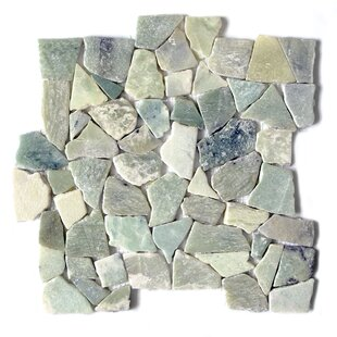 Jade Flat Random Sized Marble Mosaic Tile in Green