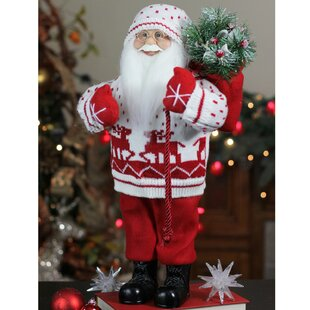 ee7ed1d7d847a Retro Christmas Santa in Knit Deer Sweater with Sack of Pine Figure  Decoration