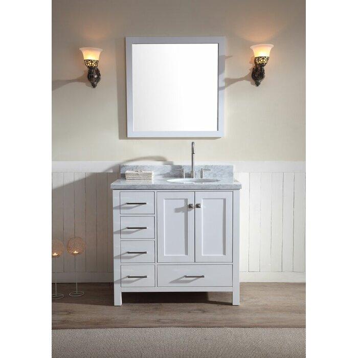 Minneota Modern 37 Single Bathroom Vanity Set With Mirror
