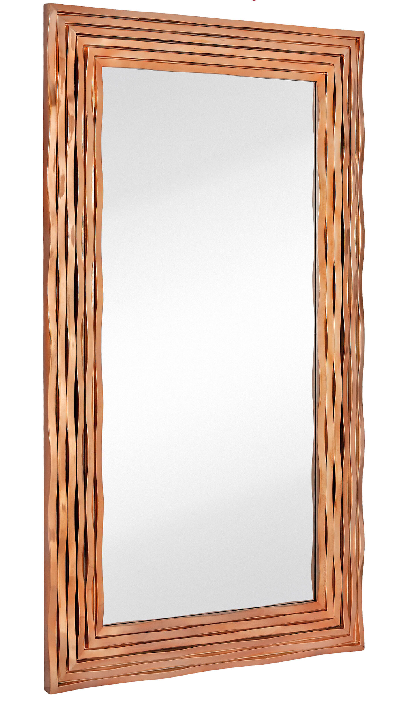 Top Majestic Mirror Large Rectangular Contemporary Wavy Polished Rose  VI27