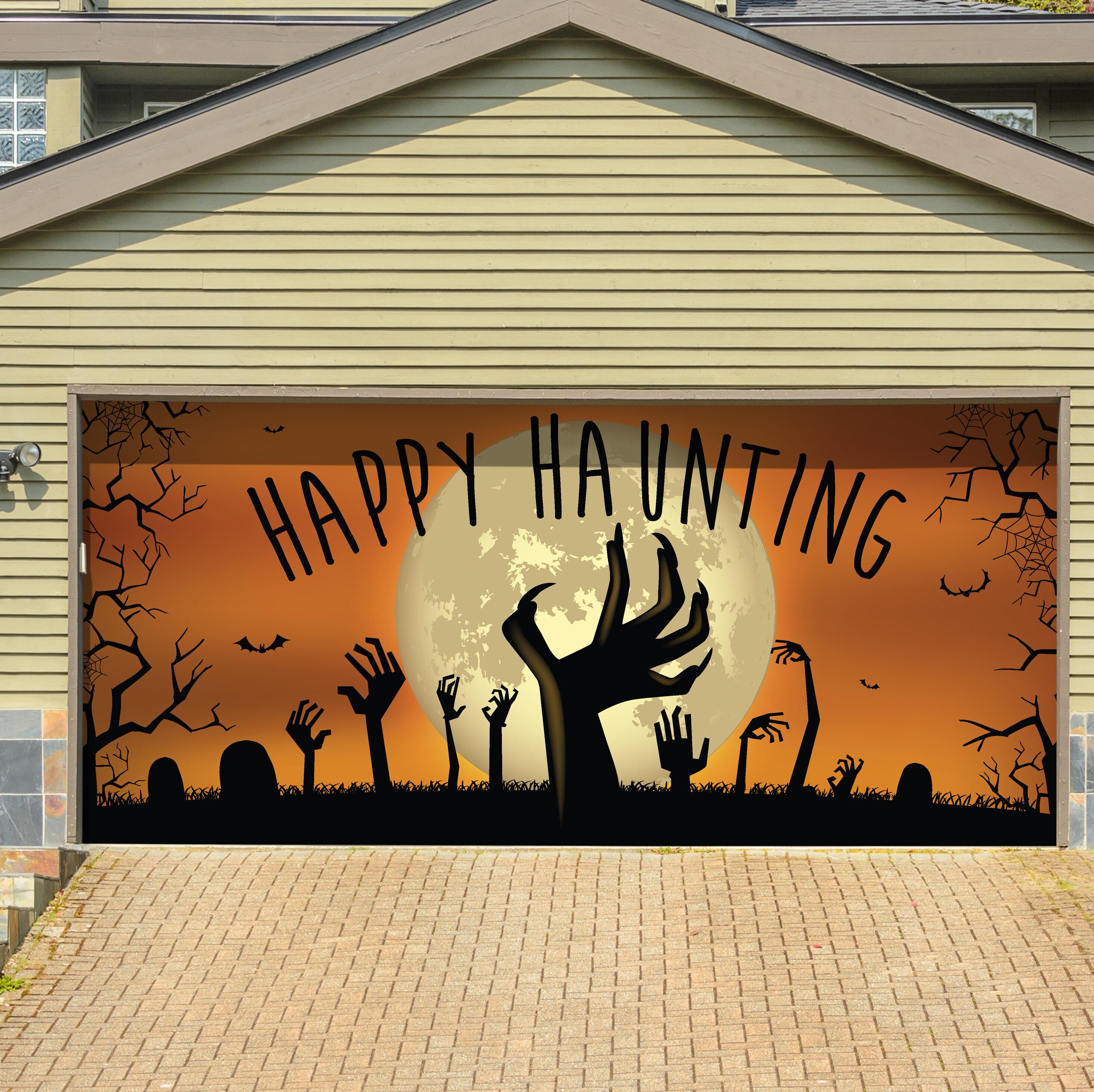 The Holiday Aisle Happy Haunting Graveyard Zombie Hands Garage Door ...