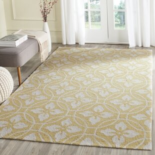 Battlefield Hand-Hooked Gold/Ivory Indoor/Outdoor Area Rug