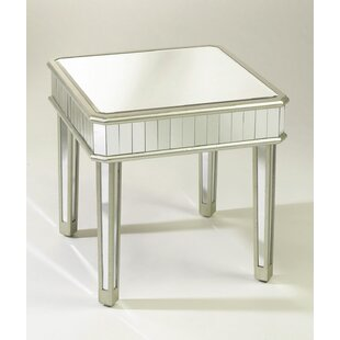 Square Mirrored End Table