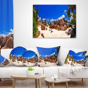 East Urban Home Landscape Photography Rocky Tropical Beach Panorama Pillow Wayfair
