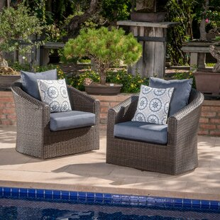 Dierdre Outdoor Wicker Swivel Club Patio Chair with Cushions (Set of 2)