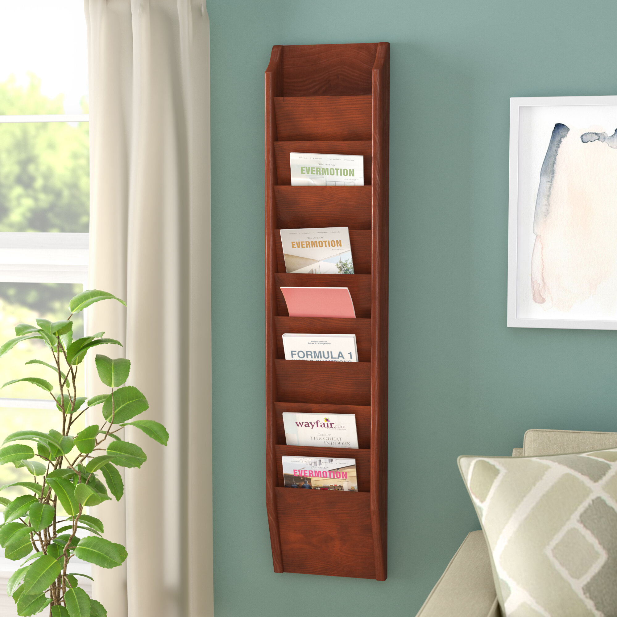 wall holder magazine wooden intended pocket mounted bamboo organizer mount for rack wood