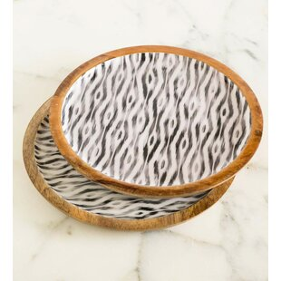 Caruthers Ikat Enameled Mango Wood Serving Tray Set