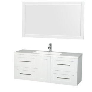 Olivia 60 Wall-Mounted Single Bathroom Vanity Set with Mirror by Wyndham Collection