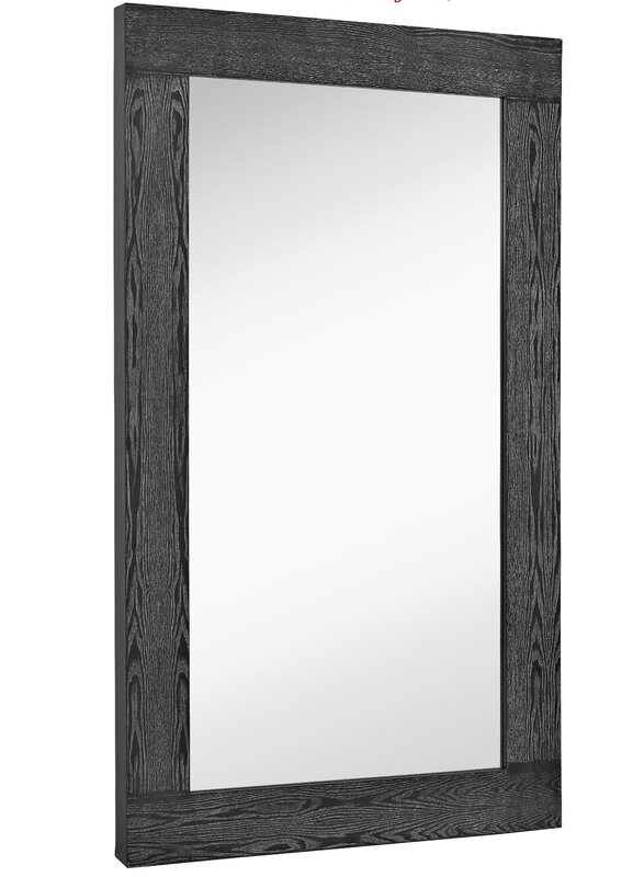 oversized modern rectangular black with white wash wood frame wall mirror panels