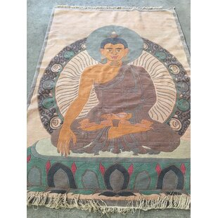 Best Reviews Buddha Hand-Knotted Beige/Blue Area Rug ByZarposh India