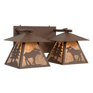 Compare prices Moose Cascade Double Vanity 2-Light Outdoor Wall Lantern By Steel Partners