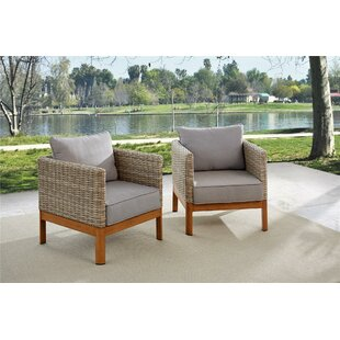 Nanette Patio Lounge Chairs with Cushions (Set of 2)
