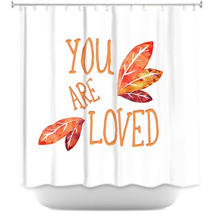 You Are Loved Naranja Leaves Single Shower Curtain