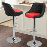 Marrow PU Leather Counter Adjustable Height Swivel Bar Stool (Set of 2) by Orren Ellis