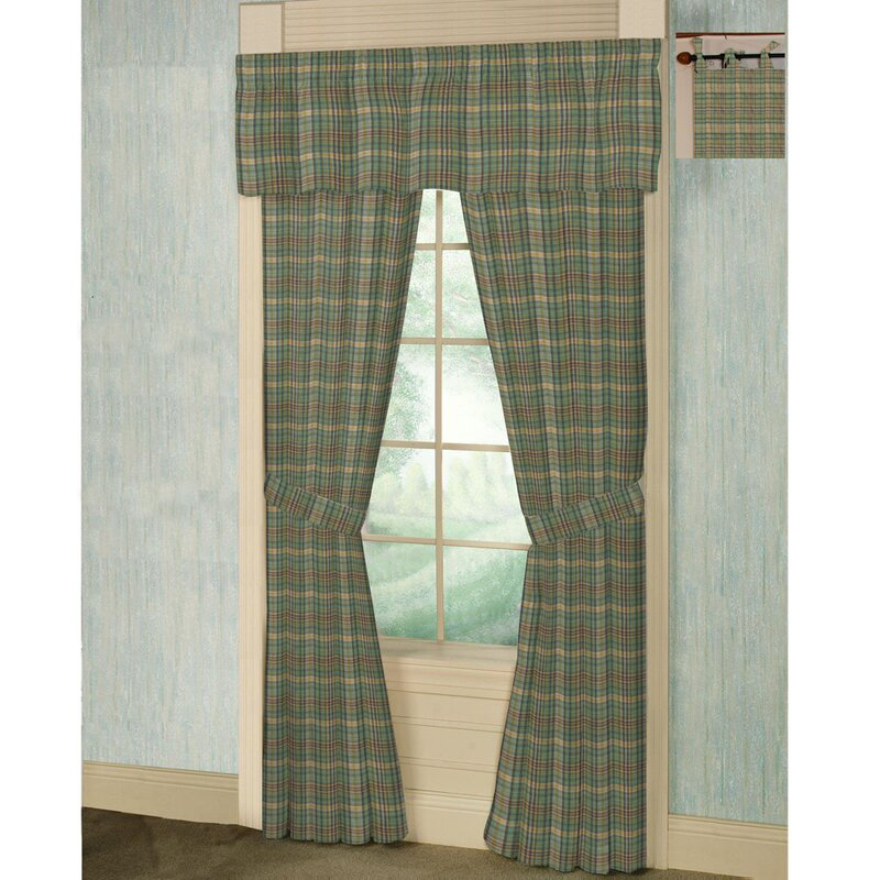 Green Yellow Plaid Tab Top Bed Curtain Panels