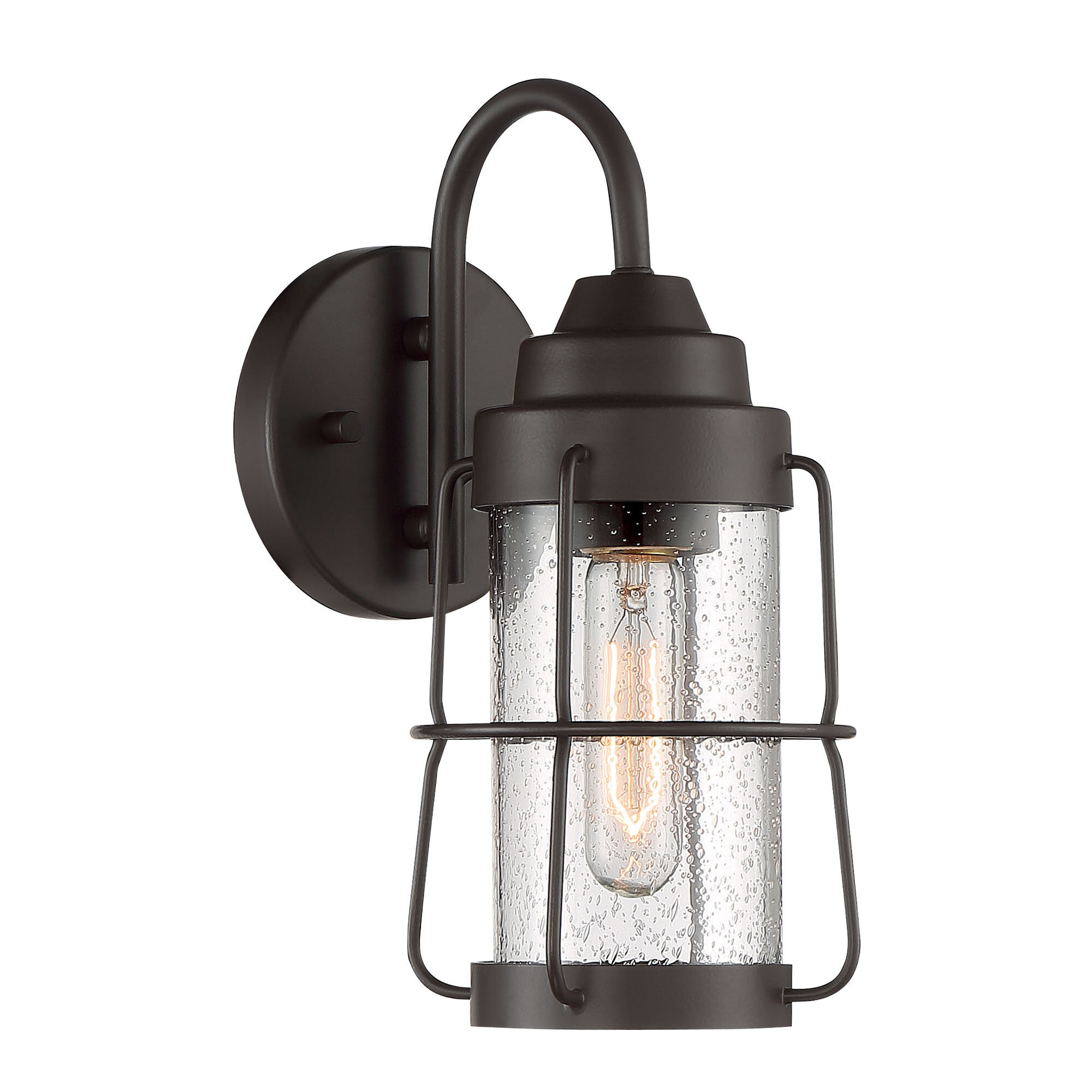 Breakwater Bay Adora Rustique 1 Bulb Plug In Outdoor Wall Lantern Wayfair