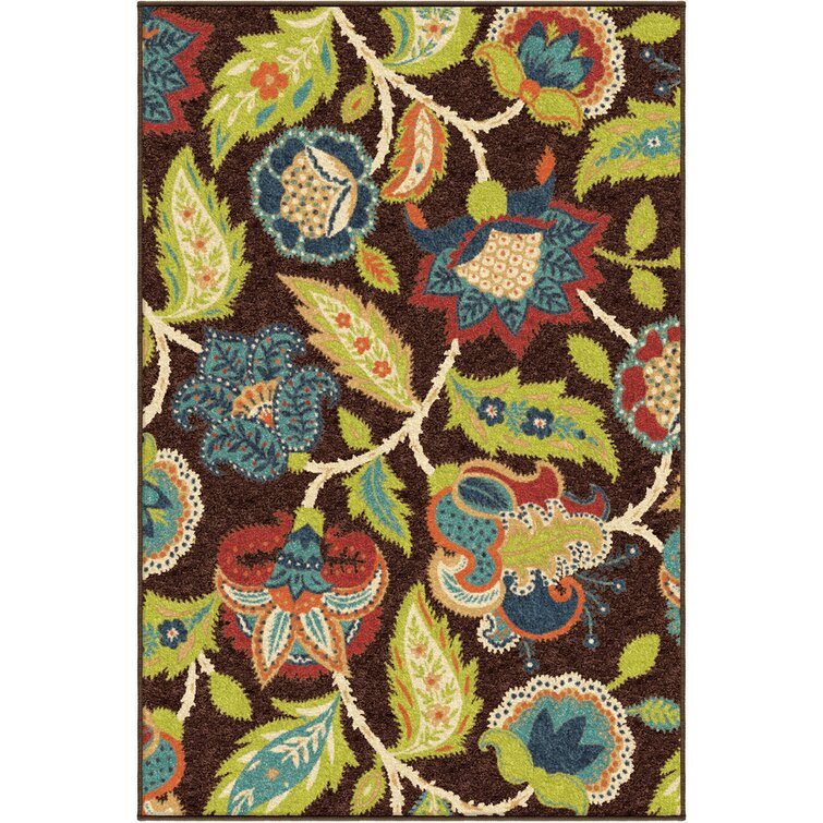 Oneybrook Floral Brown/Green/Red Indoor / Outdoor Area Rug