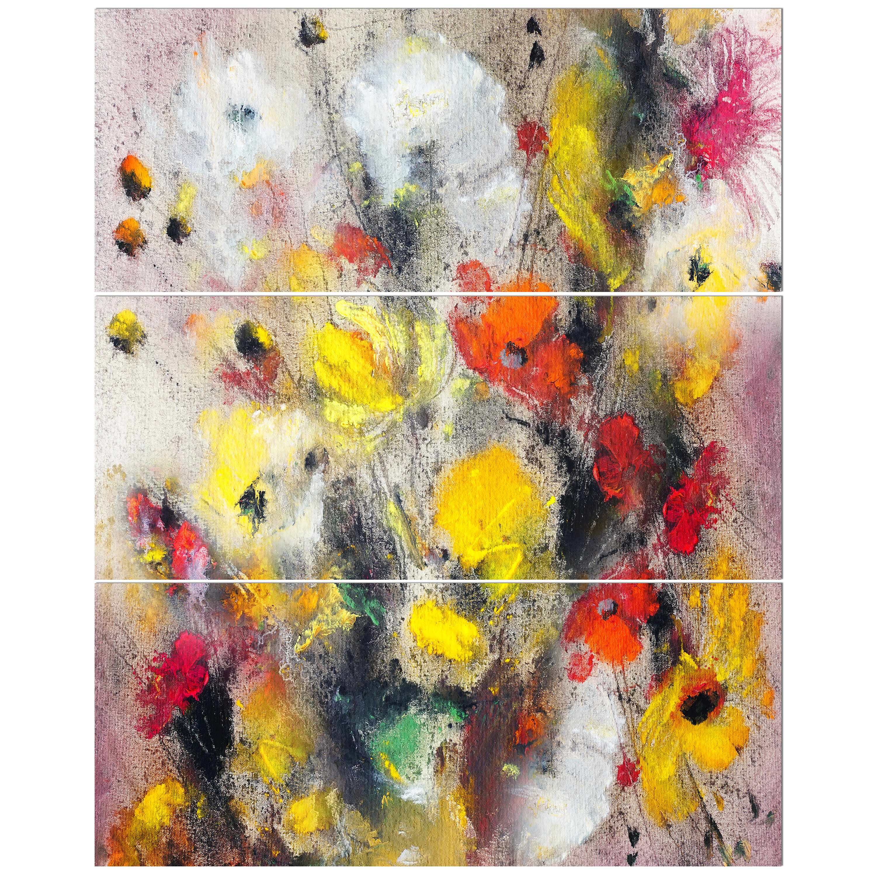 Bouquet Of Flowers In Abstract Painting Oil Painting Print Multi Piece Image On Wrapped Canvas