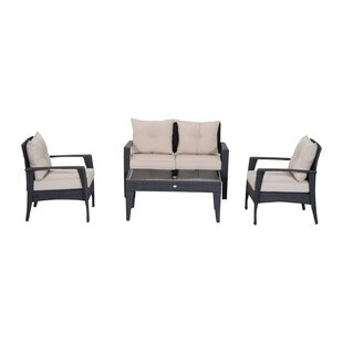 Barkhampstead 4 Piece Outdoor Wicker Loveseat and Chair Set