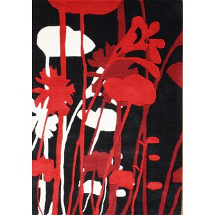Inexpensive Rupert Hand-Tufted Black/Red Area Rug By The Conestoga Trading Co.