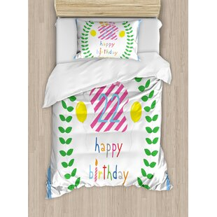 22nd Birthday Decorations Duvet Set by Ambesonne
