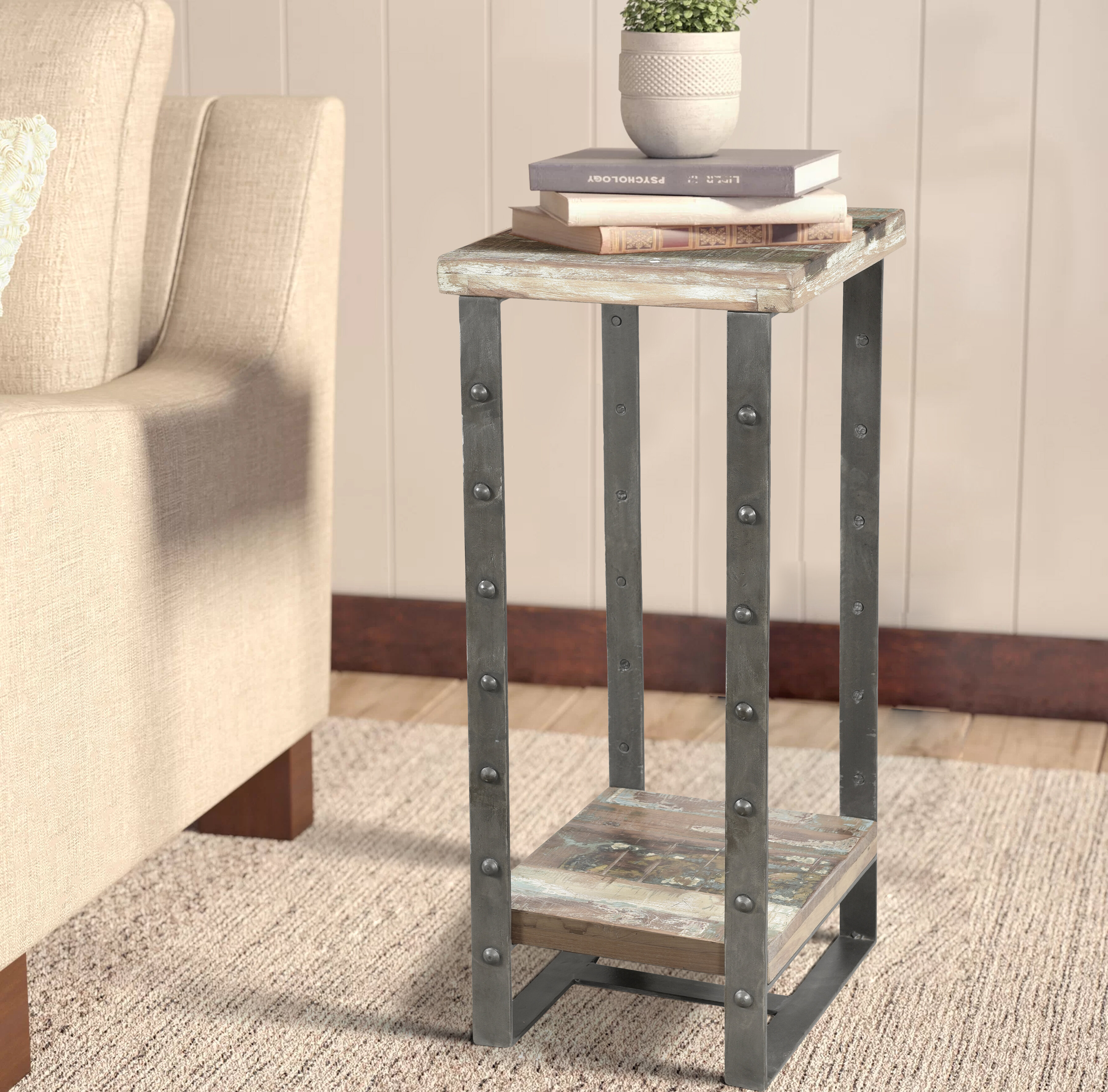 Williston Forge Melissa Solid Wood Sled End Table With Storage Wayfair