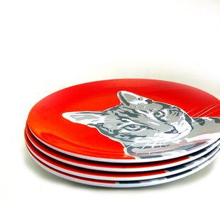 Lynx Tabby Kitty Cat Melamine Salad Plate (Set of 4)