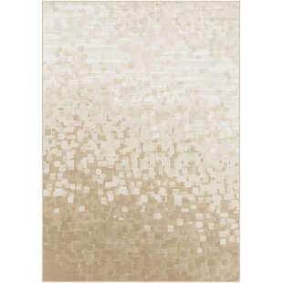 Shenk Abstract Beige/White Area Rug By Bungalow Rose