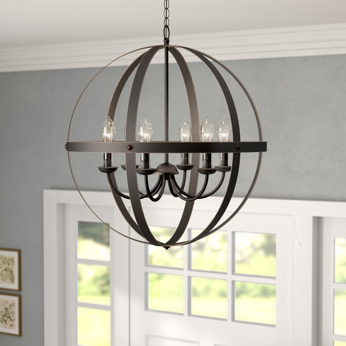 Genna 6 Light Candle Style Globe Chandelier
