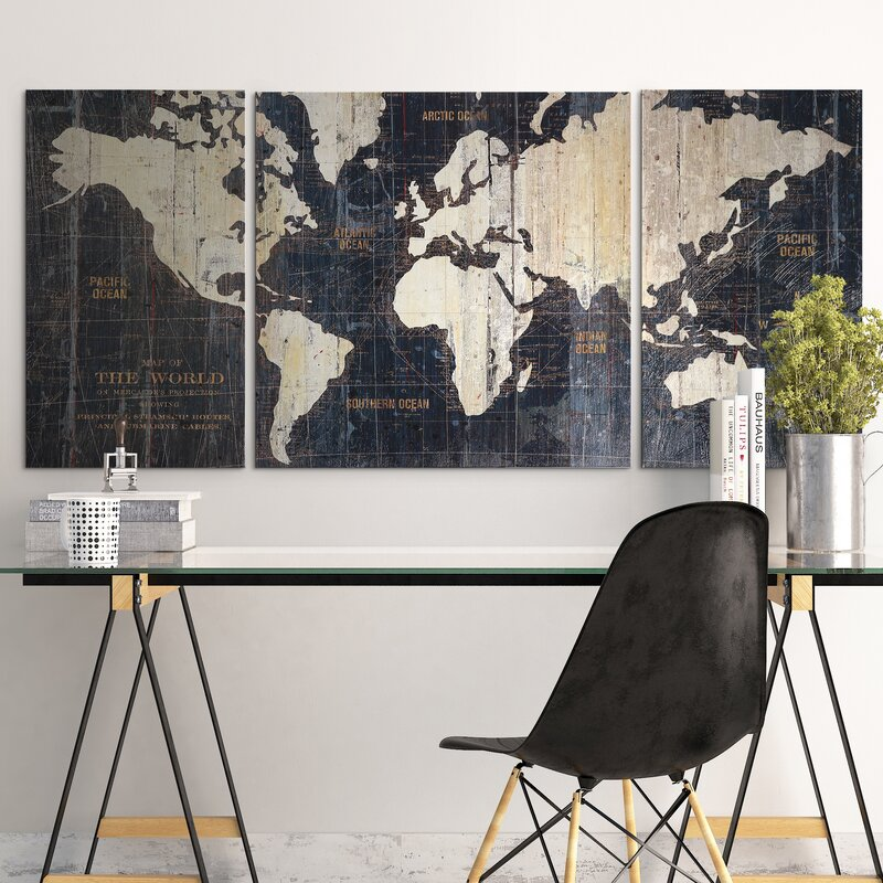 Mercury row old world map blue 3 piece graphic art print set on old world map blue 3 piece graphic art print set on wrapped canvas gumiabroncs Gallery