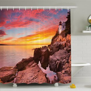 National Parks Home Lighthouse on the Harbor Sea Shore with Horizon Sky New England Design Shower Curtain Set