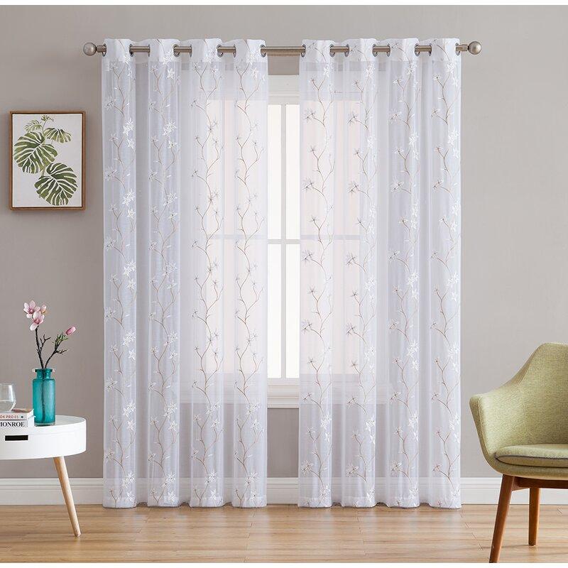 Winston Porter Dionysios Floral Embroidered Semi Sheer Grommet Curtain Panels Reviews Wayfair