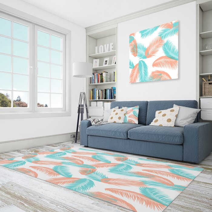 Floral Polyester Blue/Coral Area Rug