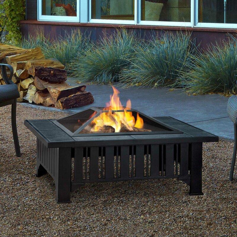 Lafayette Steel Wood Burning Fire Pit Table