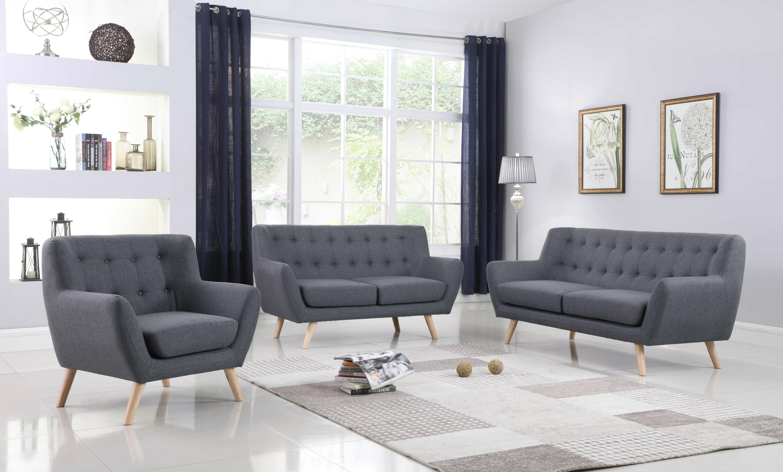 George Oliver Zaragoza Mid-Century 3 Piece Living Room Set | Wayfair