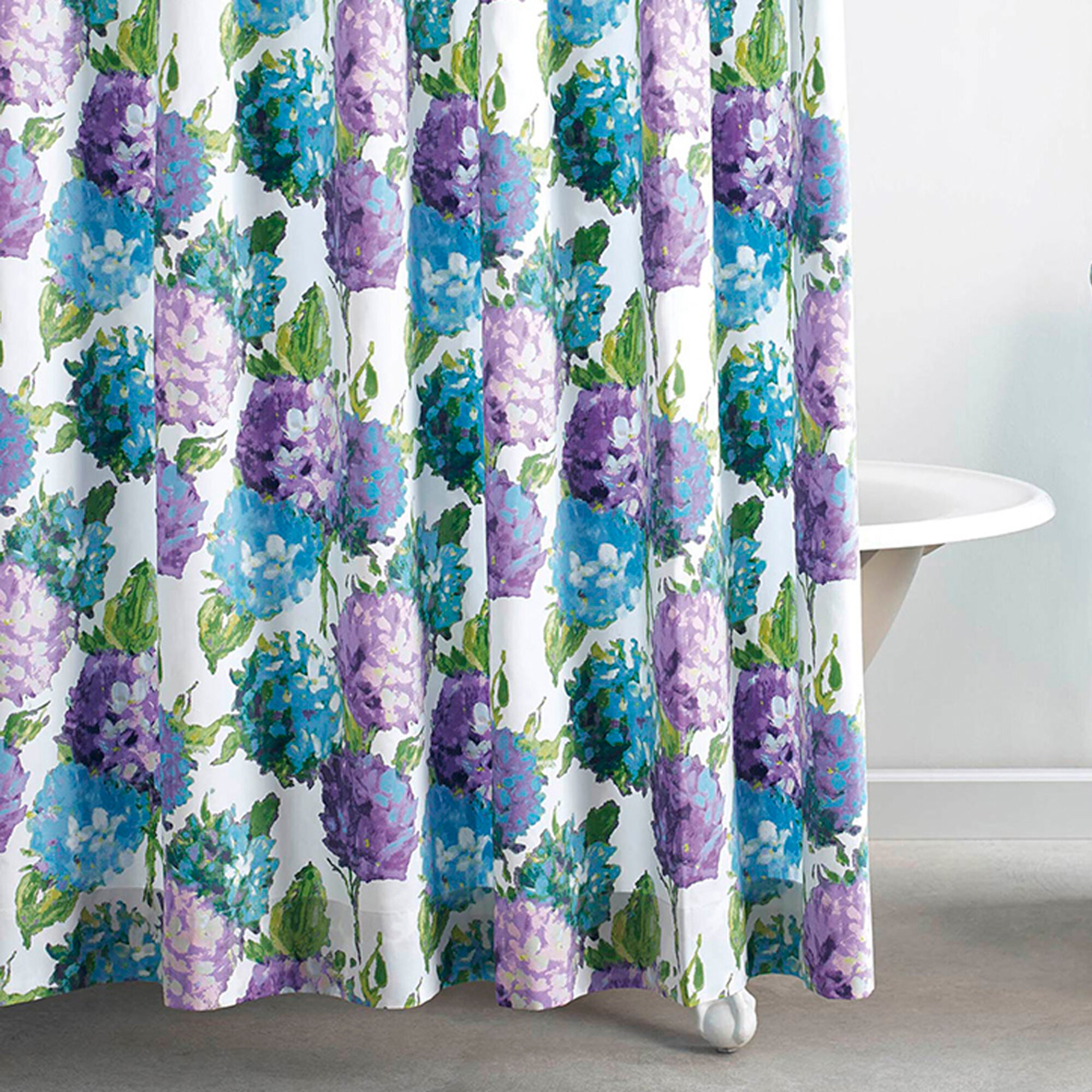 Hydrangea Cotton Single Shower Curtain