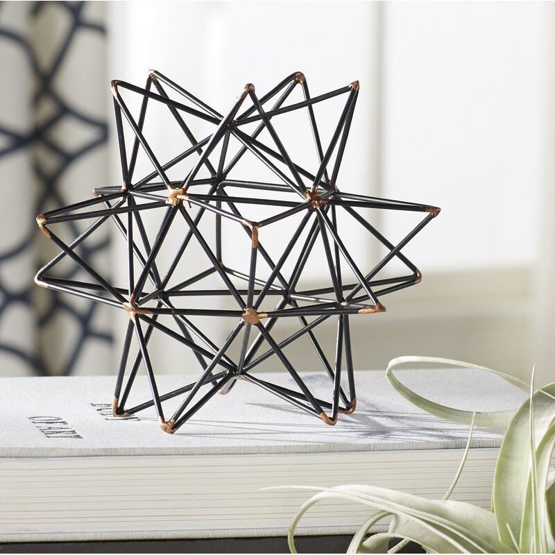 Wire Star Black/Gold Iron Sculpture