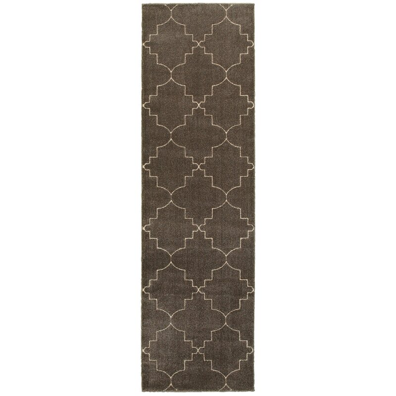 Alcott Hill Allen Brown/Ivory Area Rug, Size: Runner 23 x 76