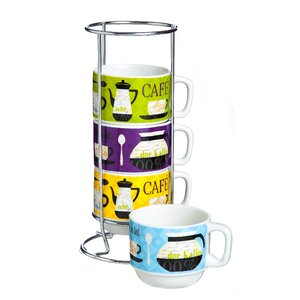 4 Piece International Cafe Ceramic Stacked Espresso Cup Set (Set of 4)